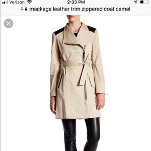 AMAZING Mackage leather trimmed trench coat size M